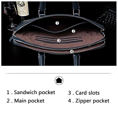 BOSTANTEN Herren Leder Laptoptasche Umhängetasche Aktentasche Schultertasche Kaffee 1-schwarz (L)38.86 X (B)7.87 X (H)28.95cm.kreuz kdAZL