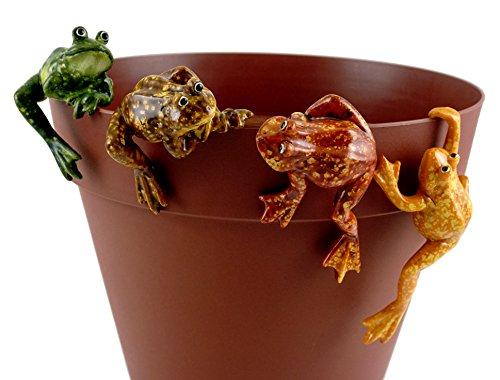 Amphibious Frogs Decorative Garden Pot Clingers - Set of 4