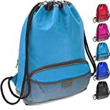 ButterFox Waterproof Fabric Drawstring Swim PE Gym Sports Pool Bag Bookbag Sackpack Backpack for Kids, Girls, Boys, Men and Women (Light_blue)