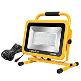 Ustellar 10000LM 100W LED Work Light (1000W Equivalent), 2 Brightness Levels, Waterproof Flood Lights, 25ft Cord with Plug, Stand Working Lights for Workshop, Construction Site, 5000K Daylight White