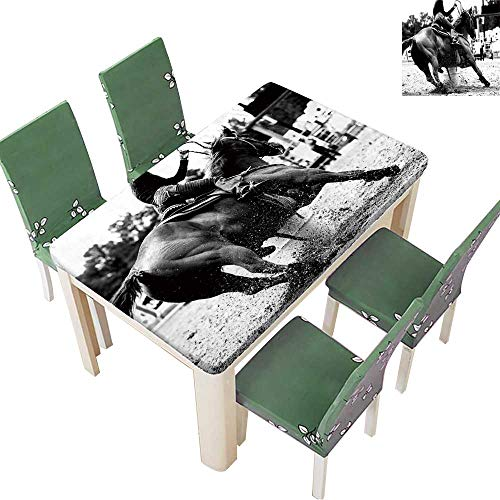 Printsonne Fitted Polyester Tablecloth High Contrast,Black and White Closeup of a Rodeo Barrel Racer Making a Turn Washable for Tablecloth 54 x 120 Inch (Elastic ()