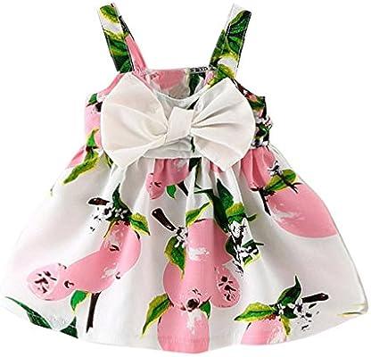 7656ed28968f Amazon.com: ❤ Mealeaf ❤ Baby Girl Clothes Lemon Printed Infant Outfit  Sleeveless Princess Gallus Dress ( 6M-24M): Home & Kitchen