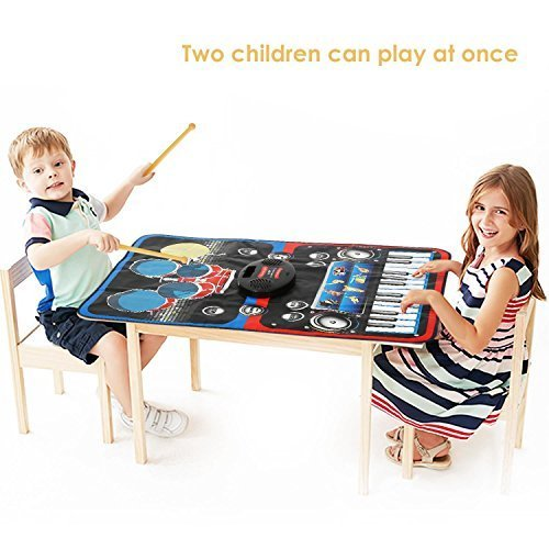 INTEY Piano Play Mat 2-in-1 Drum Set for Kids Music Mat Jam Playmat with Built-in Speaker Foldable and Recordable Piano Music Mat for Toddlers