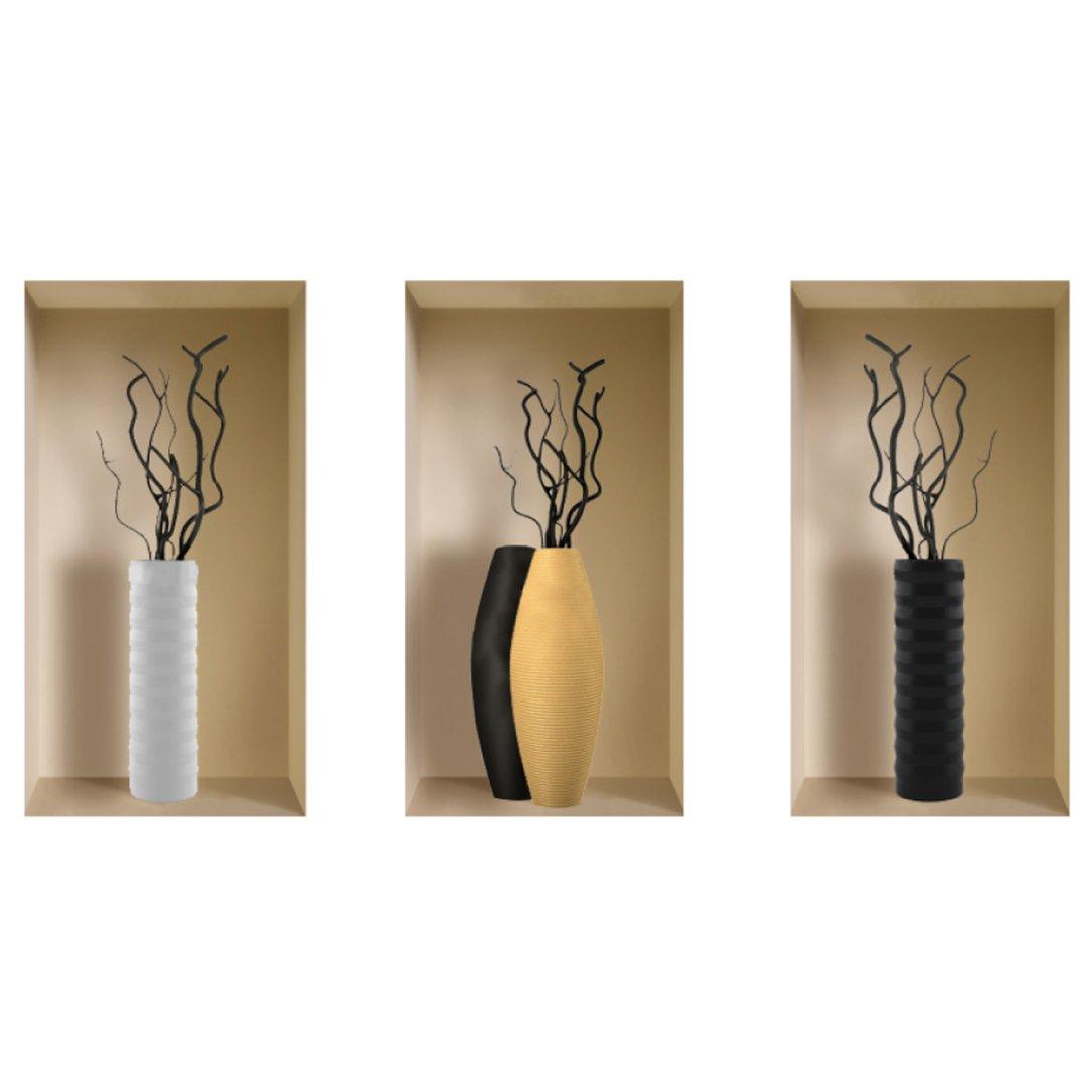 Nisha Balinai - Juego de adhesivos decorativos para pared (22 x 42 cm), diseño de floreros: Amazon.es: Hogar