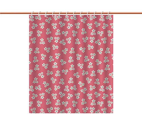 Mildew Resistant Shower Curtain [ Country Home,Cute Little Daisies Bouquets Girls Bedroom Decor Freshness Pink Backdrop,Teal Pink White ] Water and Mildew Resistance Kids Shower Curtain Designs