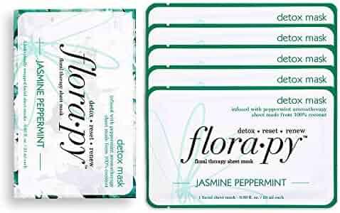 Florapy Beauty Detox Sheet Aromatherapy Mask, Jasmine Peppermint, 5 Count