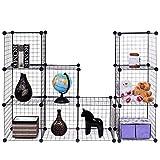 Wire Cube Shelves DIY 12 Cube Grid Organizer Wardrobe Organizer Bookcase Shoe New Black