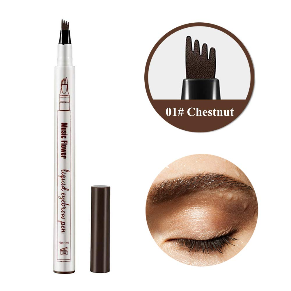 Eyebrow Tattoo Pen, Waterproof Microblading Eyebrow Tattoo Pencil with a Micro Fork Tip Applicator Creates Natural Looking Brows Effortlessly and Stays on All Day for Eyes Makeup (01# Chestnut)