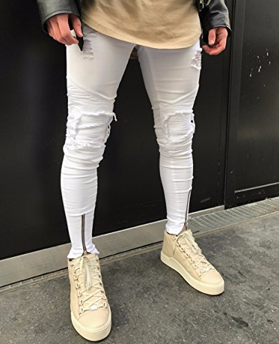 kingfansion Men's Skinny Jeans Stretchy Cutout Jeans Destroy Shredded Skinny Slim Jeans Casual Travel Jeans Men's Trousers (28) by kingfansion (Image #1)