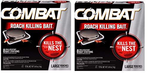Combat Bait Stations, Child-Resistant, Large Roach 8 Stations 0.49 oz (14 g) - 2 Pack