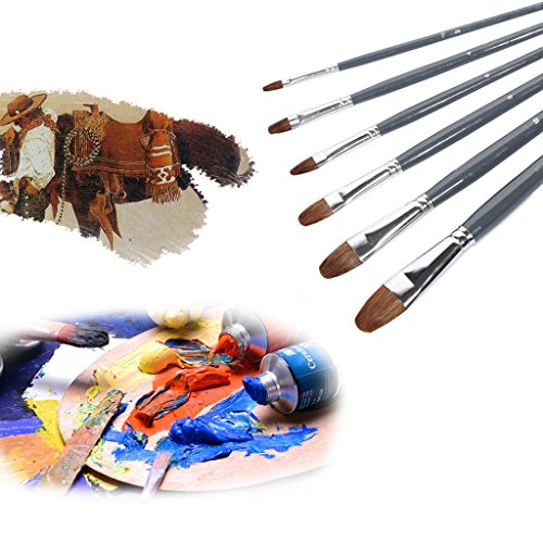 Wolf Hair Watercolor Oil Acrylic Artist Paint Brush Set of 6 Black - 1
