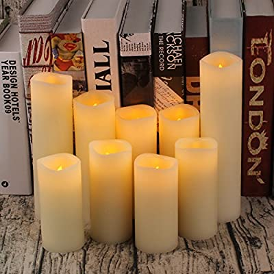 "Flameless Candles Battery Operated Candles 4"" 5"" 6"" 7"" 8"" 9"" Set of 9 Ivory Real Wax Pillar LED Candles with 10-key Remote and Cycling 24 Hours Timer"
