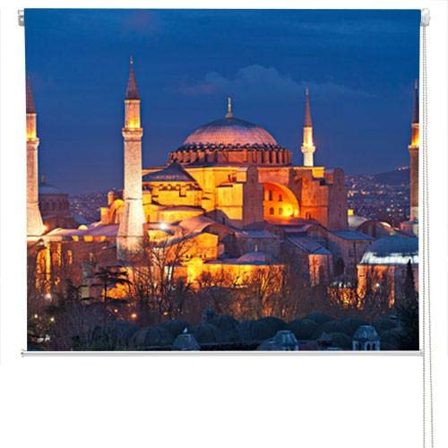 (HAGIA SOPHIA MOSQUE AT NIGHT PRINTED Picture Photo Roller Blind - Custom Made Printed Window Blind - Custom Made Window Blind/Shade)