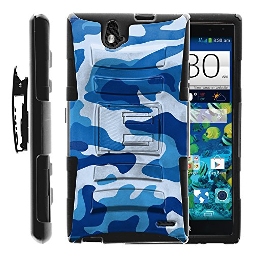 ZTE Grand X Max Case, ZTE Grand X Max Holster, Two Layer Hybrid Armor Hard Cover with Built in Kickstand for ZTE Grand X Max Z787, ZTE Grand X Max+ Plus (Cricket) from MINITURTLE | Includes Screen Protector - Blue Camouflage