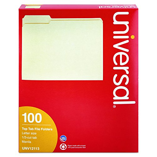 Universal 12113 File Folders, 1/3 Cut Assorted, One-Ply Top Tab, Letter, Manila (Box of 100)