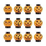 ELINKUME 12x Halloween Decorative RGB Flashing Lights, Pumpkin Mini Lanterns Outdoor and Indoor Halloween Decorations