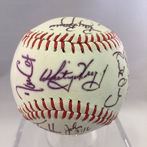 1986 St. Louis Cardinals Team Signed Autographed Baseball Ozzie Smith PSA ()