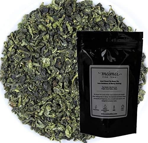 MeiMei Fine Teas Top Grade Anxi Floral Tie Guan Yin Oolong Tea - Iron Goddess of Mercy Chinese Loose Leaf Tea - Single Origin High Mountain Ecologically Grown - Energetic -