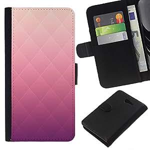KLONGSHOP // Tirón de la caja Cartera de cuero con ranuras para tarjetas - Patrón Rhomb rosa del color del gradiente - Sony Xperia M2 //