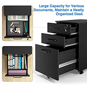 SLYPNOS Mobile File Cabinet With 3 Drawer, Metal Office Pedestal Filing Cabinet With Suspension File Hanging Rail For A4…