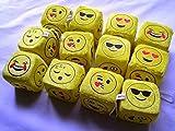12 Emoji Plush Dice Car Window Hanger Suction Cup Soft Stuffed Emoticon Yellow Toy Doll