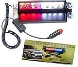 ZHOL® 8 LED Visor Dashboard Emergency Strobe Lights Red/white (Office Product)