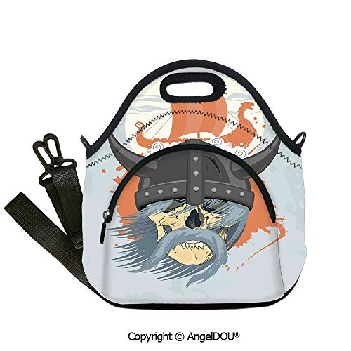 AngelDOU Viking portable thickening insulation tape Lunch bag Cartoon Ghost Skull Nordic War Combat Norse Medieval Helmet Horns Dragon Head Ship lunch bag for Employee student Wo12.6x12.6x6.3(inch)
