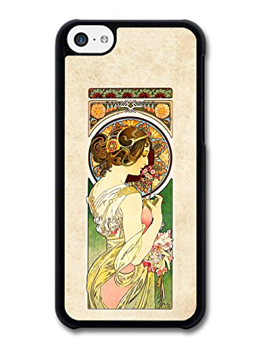 Art Nouveau Painting of Woman on Orange and Green Flower Pattern case for iPhone 5C