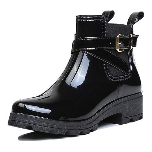 uirend Stivali di Gomma Caviglia Donna - Wellington Wellies Chelsea Boots  Gusset Piatte Tacco Elastico Pull On Stivaletti Antiscivolo Impermeabile  Neve ... 0d289e9de6a