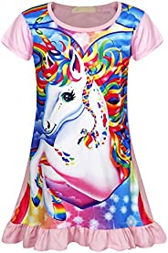 Kantenia Girls Nightgowns Sleepwear Unicorn Sleep Shirts Short Sleeve Kids Pajamas Night Sleep Dress