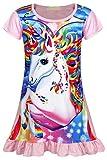 AmzBarley Girls Nightgowns Sleepwear Unicorn Sleep Shirts Short Sleeve Kids Pajamas Night Sleep Dress