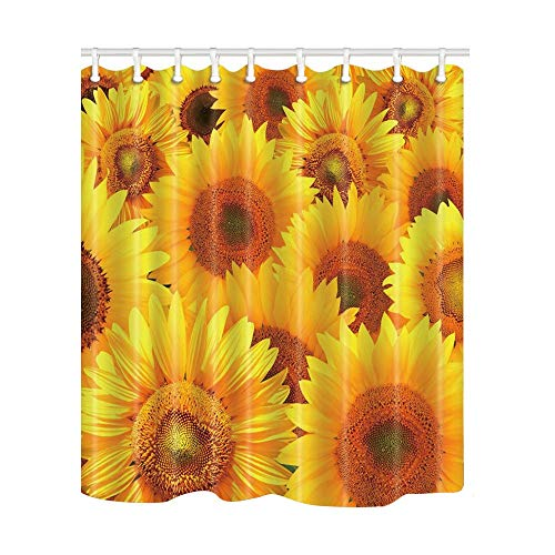 - SZZWY Sunflower with Gold Seeds Background Pattern Shower Curtain 3D Printing Waterproof Coated Polyester Fabric Bathroom with 12 Hooks 71 inches