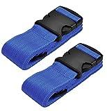 WeBravery Adjustable Luggage Straps Suitcase Belts Travel Bag strap (Blue 2Pieces)