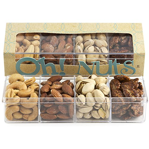 Holiday Gift Basket, 4 Section Nut Assortment, Great Healthy Gifts for Dad - Oh! Nuts (1 Pack Nuts Assortment Gift)