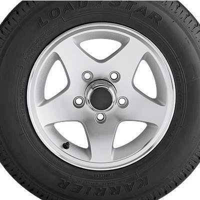 Aluminum Star Mag Trailer Tires and Assembly - 15in. Bias Ply, Model# DM205D5C-5SM Aluminum Star Mag Trailer