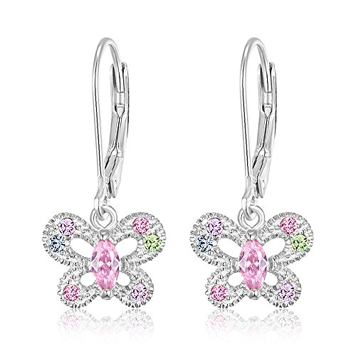 Premium Multi Color Butterfly Secure Leverback Earrings For Kids, Girls, Children Teens (Swarovski Earrings For Girls)