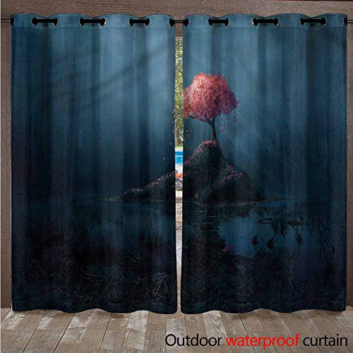 - Long Curtains - Blackout Outdoor Thermal Insulated Light Block Curtain Drapes Waterproof Drapery with Grommets for Garden Patio, 2 Panel, W84x72L,Multi