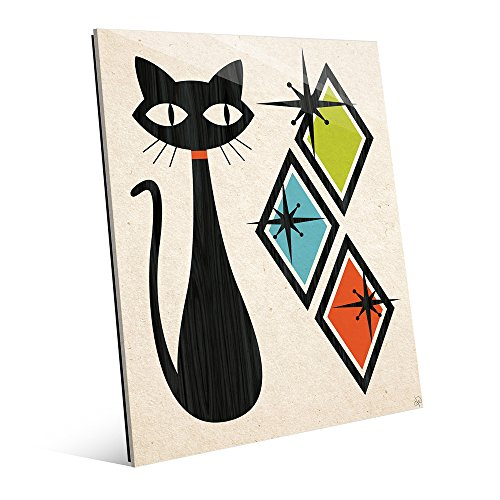 Retro Cat With Diamonds Green Blue And Orange Mid-Century Retro Modern Geometric Shapes Abstract Painting Drawing Illustration Wall Art Print on Acrylic