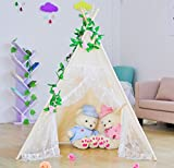 Kids Teepee Tent,Large Lace Play Tent for Children Gift Outdoor and Indoor Playhouse Decoration (With Flag and Carry Case)