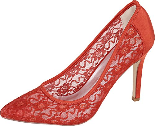 Job Toe Pumps Ladies Salabobo Red Heeled 10e 0608 Bride Simple Wedding Ol Dress Work Pointed Nightclub Mesh qU71zw7