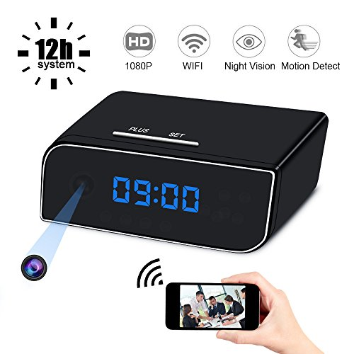 Mini Spy Hidden Camera Clock, UYIKOO 1080P Small WiFi HD Nanny Cam with Night Vision and Motion Detection, Perfect Indoor/Outdoor Covert Security Camera for iPhone/Android Phone/iPad/PC