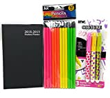 Back to School Student Elementary Middle High 2018 School Classroom Student Academic Year Daily Planner August 2018 Through July 2019 Planner Pencils Highlighter Marker Set BLACK