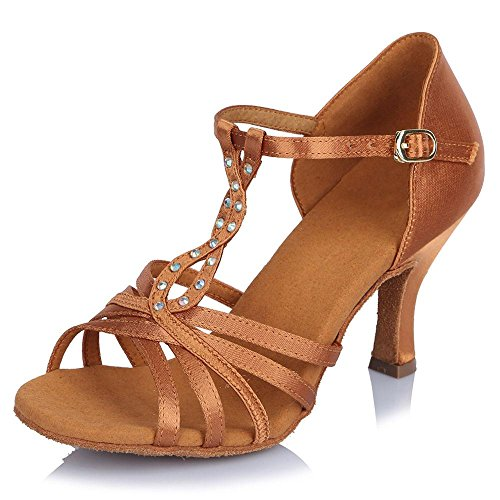 YFF Chica mujer s señoras Ballroom América Tango parte zapatos de baile 6,5cm tacón Brown 65mm