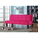 King's Brand Tufted Design Red Microfiber with Adjustable Back Klik Klak Sofa Futon Bed Sleeper