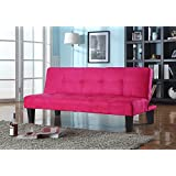 King's Brand Tufted Design Red Microfiber With Adjustable Back Klik Klak Sofa Futon Bed Sleeper