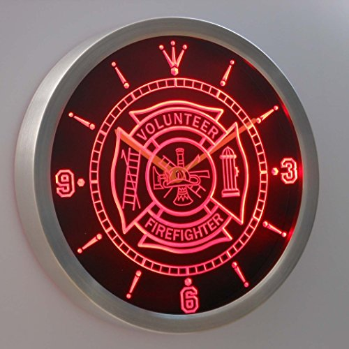nc0424-r Firefighter Volunteer Fire Department Bar Beer Neon Sign LED Wall Clock