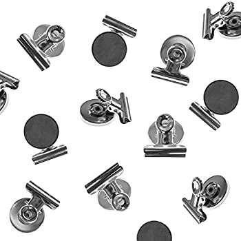 Heavy Duty Mini Silver Refrigerator Magnet Hook Clips for Photo Displays, Hanging Home Decoration, Arts & Crafts, Office Organizing (8 Pack)