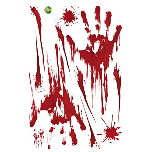 YUENA CARE 10PCS Halloween Decal Sticker Cling Bloody Handprint Decal -