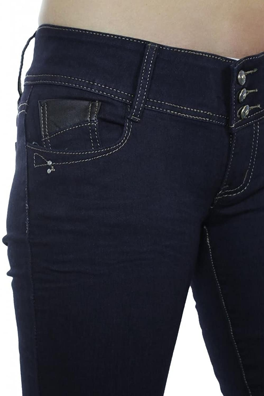 (1381-1) Faux Leather Trim Dark Blue Wash Good Stretch Skinny Jeans