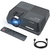 """Mini Projector, Smartphone Projector via Wired USB Data Cable, Home Theater Video Projector Support 1080P HDMI USB AV SD VGA iPhone&iPad plug and play, LED Data Projector 1600Lumens Max 150"""""""